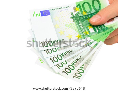 Male hand holding six 100 euro notes isolated on pure white