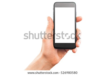 Male hand holding smartphone, isolated on white. #526980580