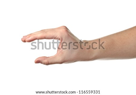 Male hand holding something invisible. Isolated on white background