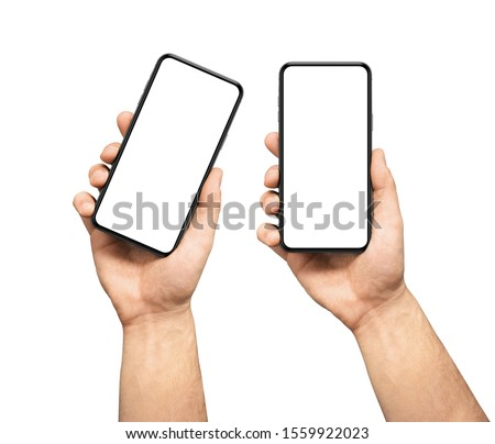 Male hand holding the black smartphone  blank screen with modern frameless design, two positions vertical and rotated - isolated on white background