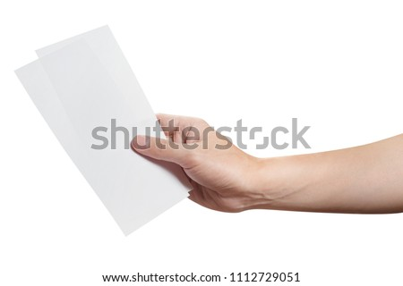 Male hand holding two blank sheets of paper (tickets, flyers, invitations, coupons, money, etc.), isolated on white background #1112729051