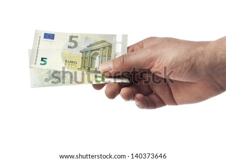 Male hand holding two new 5 Euro bills isolated on white
