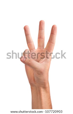 Male hand is showing three fingers isolated on white background