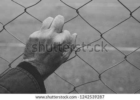 Male hand on chainlink fence, illegal immigration concept