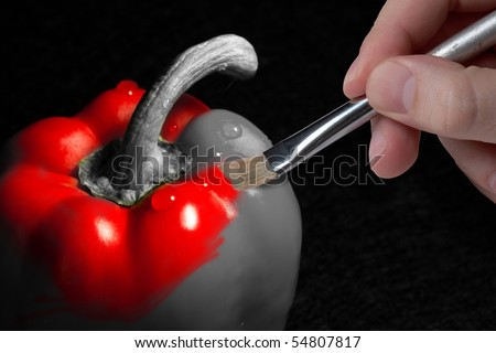 Male hand painting a shiny wet red pepper which is partly black and white and partly colored