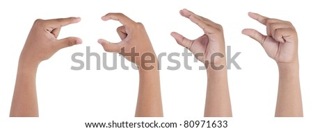 male hand pinching isolated on white background