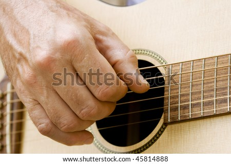 male hand plucking guitar strings with fingers stock photo 45814888 shutterstock. Black Bedroom Furniture Sets. Home Design Ideas
