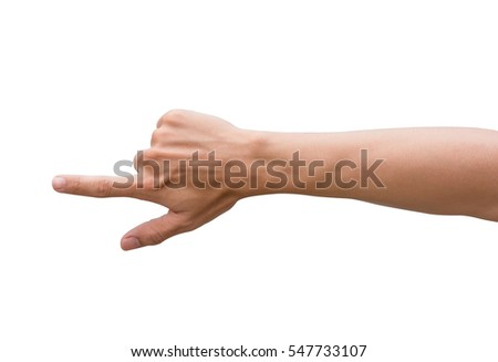 male hand pointing. Isolated on white background