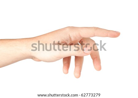 Male hand pointing isolated on white background