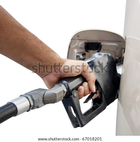male hand pumping gas isolated on a white background