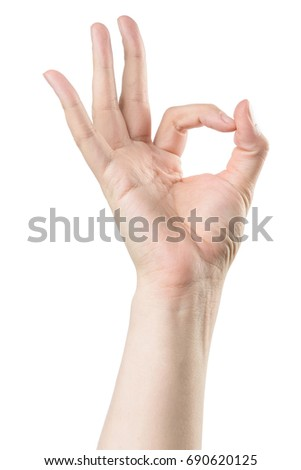 Male hand show OK sign, isolated with clipping path on white background