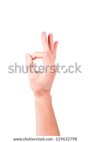 Male hand showing ok sign isolated on white