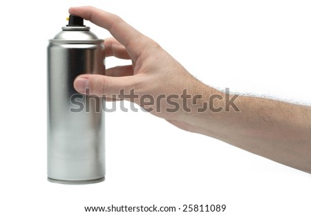 Male hand spraying on white background
