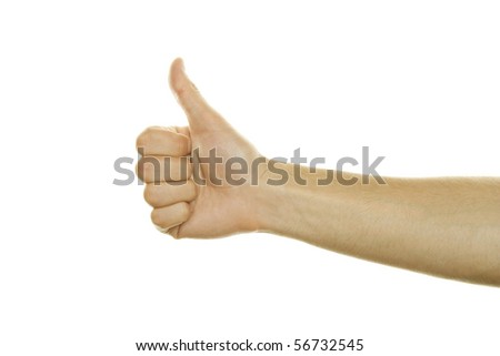 Male hand thumbs Up. Isolated on white background