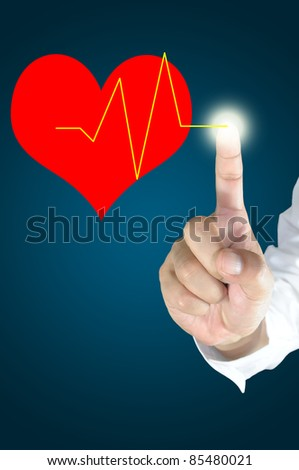 Male hand touch the heart pulse