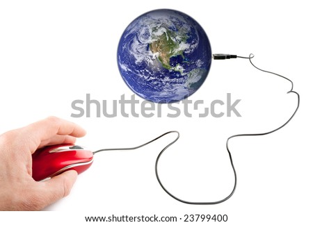 male hand using computer mouse plugged on planet earth
