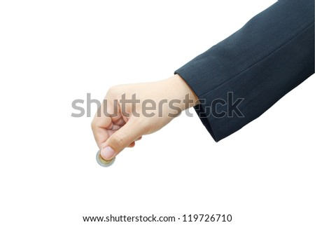Male hand with coin on white background.
