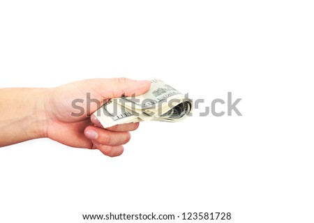 male hand with dollars isolated on a white background
