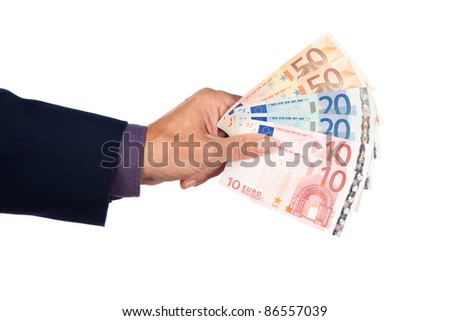 male hand with euro  banknotes on a white background