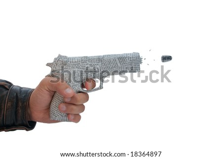 male hand with fire a shot newspaper pistol and bullet on white background. fake