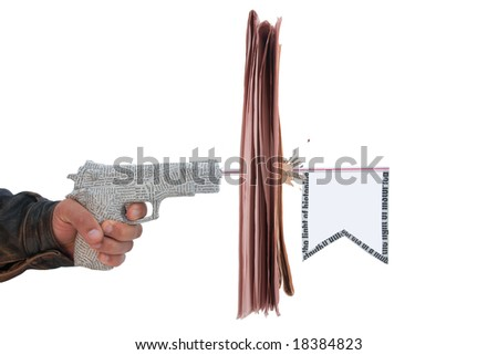 male hand with fire a shot newspaper pistol and flag with break newspaper on white background. fake