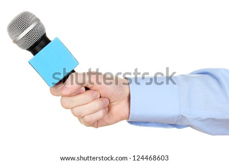 Male hand with microphone isolated on white