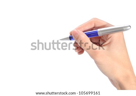 Male hand with pen on white background - stock photo