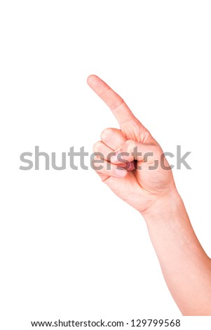 Male hand with pointing finger showing something isolated on white