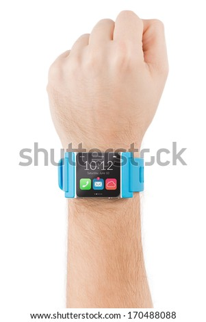 Male hand with smart watch is raised to the sky isolated on white background.