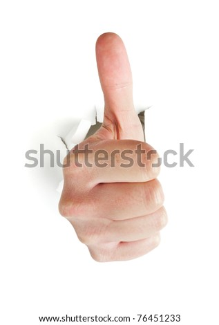male hand with thumb up breaking through white background
