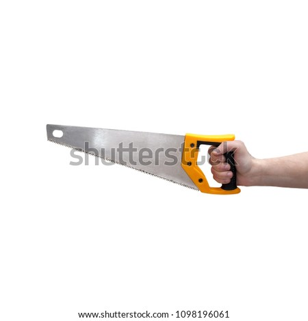 Male hand with yellow hacksaw isolated on white.