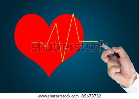 Male Hand write heart and pulse