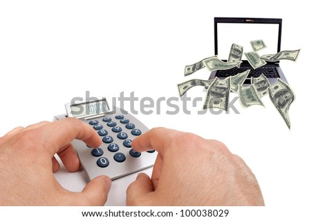 Male hands calculate earnings over the internet while dollar bills flying from the laptop screen