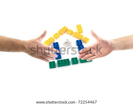 Male hands forming a handshake out of a laptopisolated against a white background