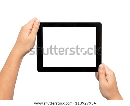 male hands holding a tablet touch computer gadget with isolated screen