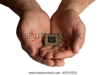 Male hands holding dual core CPU, central processing unit, microporcessor