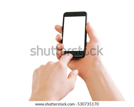 Male hands holding smartphone. Isolated on white. #530735170