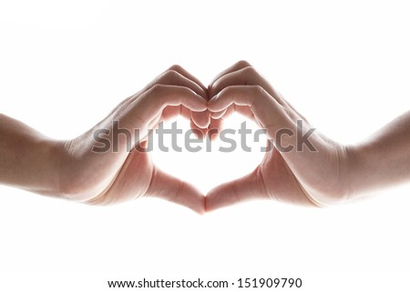 male hands in the form of heart isolated on white background - stock photo