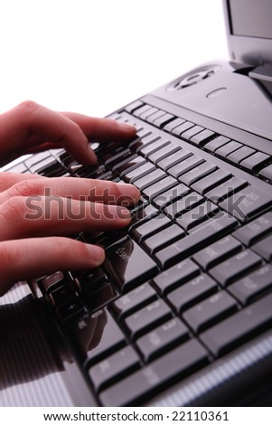 Male hands on laptop