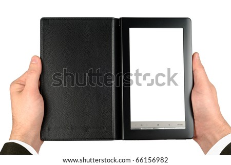 Male hands suit dressed holding electronic book isolated with clipping path over white