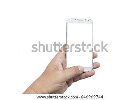 male hands taking photo with smart phone of blank white touch screen,isolate on white