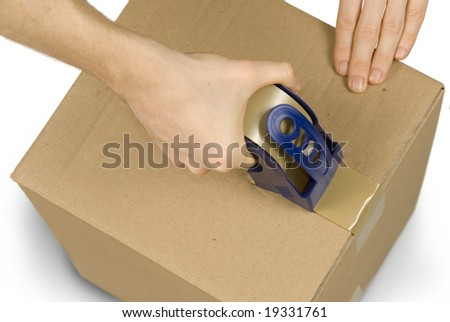 Male hands taping up a packet, isolated on pure white