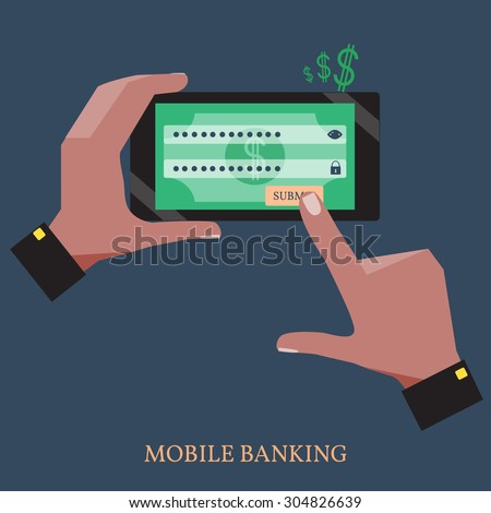 Male Hands Using Mobile Banking on a Black Smart Phone.