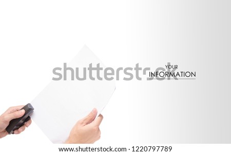 Male hands with a stapler paper pattern on a white background isolation