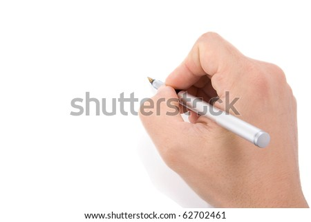 male hands with pen on white background