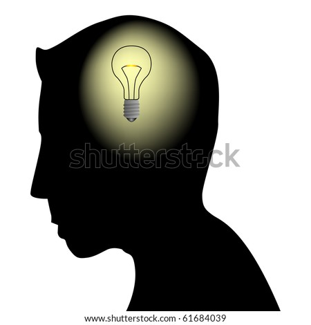 Male head silhouette with bulb