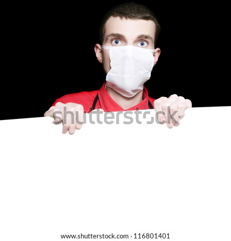 Male Healthcare Surgeon Holding Up Blank Copyspace Board With Room For Your Medical Text On Black