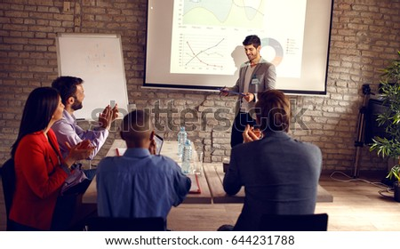 Male holding business presentation about success in business  #644231788