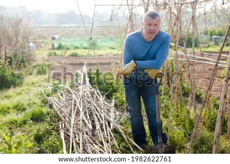 Male horticulturist with mattock standing near wooden trellis in garden outdoor Stock photo ©