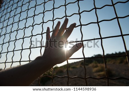 male human hand touching fence cage in jail and illegal immigration on sunset Stock photo ©